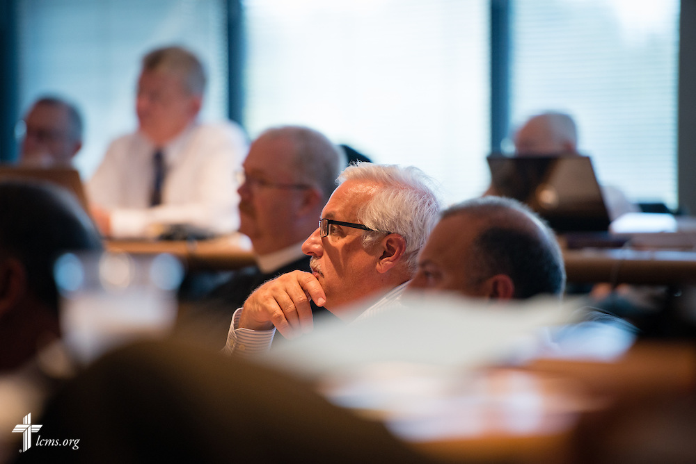 Rev. Dr. Anthony Steinbronn, president of the New Jersey District, listens to a presentation during the Council of Presidents meeting at the International Center of The Lutheran Church–Missouri Synod in Kirkwood, Mo. LCMS Communications/Erik M. Lunsford