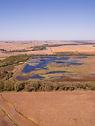 Aerial photograph of Willow Slough and rural farmland in Mills County, Iowa, USA.