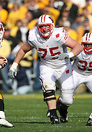 18 OCTOBER 2008: Wisconsin offensive lineman Andy Kemp (75) in the first half of an NCAA college football game against Wisconsin, at Kinnick Stadium in Iowa City, Iowa on Saturday Oct. 18, 2008. Iowa won 38-16.