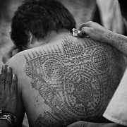 "A devotee, his back covered in Sak Yant tattoos is seen as he and others attend the annual ""Wai Kru"" tattoo festival at Wat Bang Pra in Nakhon Chasi, Thailand Saturday, March 23, 2013.  Devotees attend the one day event to have their ""Sak Yant"" religious tattoos energized by Buddhist monks and tattoo masters."