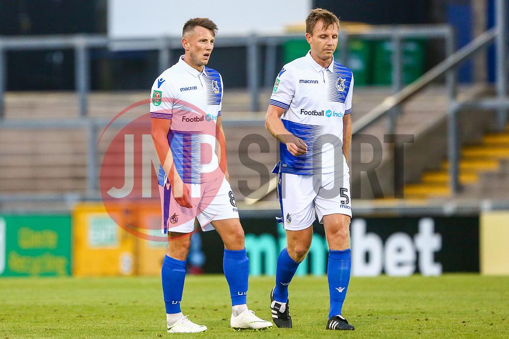 Ollie Clarke of Bristol Rovers and Tony Craig of Bristol Rovers  - Mandatory by-line: Ryan Hiscott/JMP - 14/08/2018 - FOOTBALL - Memorial Stadium - Bristol, England - Bristol Rovers v Crawley Town - Carabao Cup