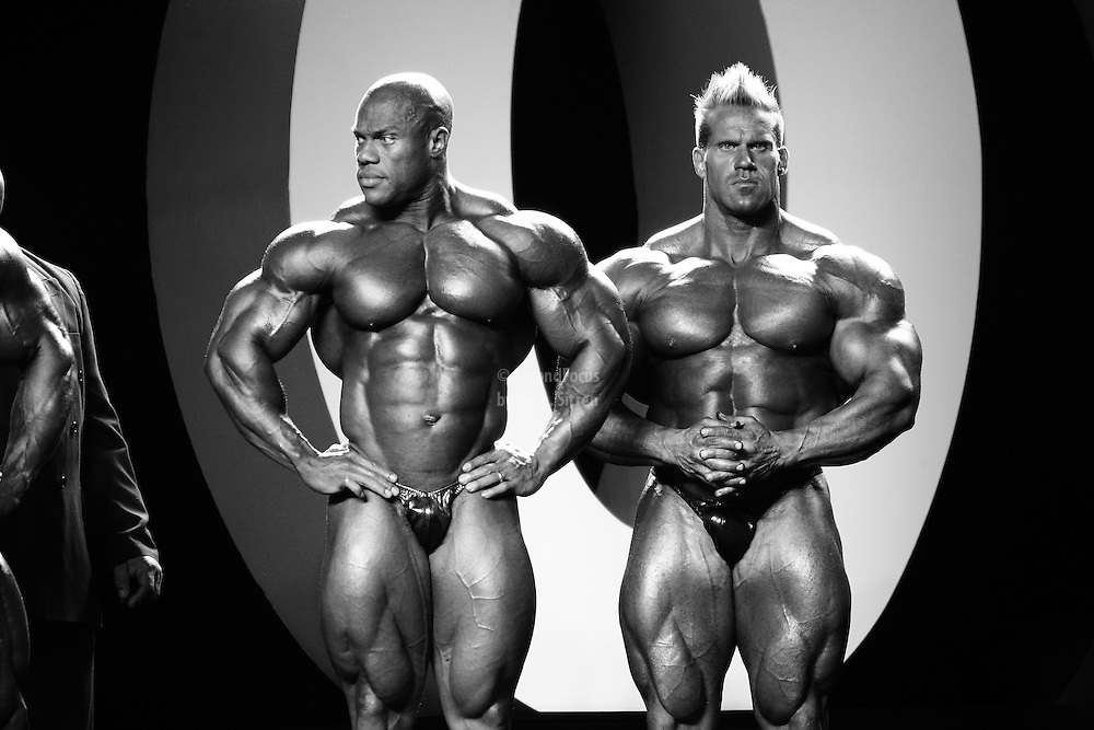 Phil Heath and Jay Cutler competing at the 2010 Mr. Olympia finals in Las Vegas.