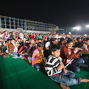 ART OF LIVING DEVOTEES PREPARTING FOR WORLD RECORD 4000 FLUITIST PLAYING FLUITE AT A TIME . FIRST OF ITS KING EVENT IN THE UNIVERSE. SCHOOL CHILDRENS  HAVE TAKEN ACTIVE PARTICIPATION IN THE EVENT