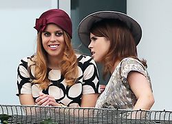 Princess's Beatrice and Eugenie at the Epsom Derby in Epsom, England, Saturday 1st June 2013 Picture by Stephen Lock / i-Images