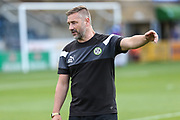 Forest Green Rovers assistant manager, Scott Lindsey during the EFL Sky Bet League 2 match between Wycombe Wanderers and Forest Green Rovers at Adams Park, High Wycombe, England on 2 September 2017. Photo by Shane Healey.