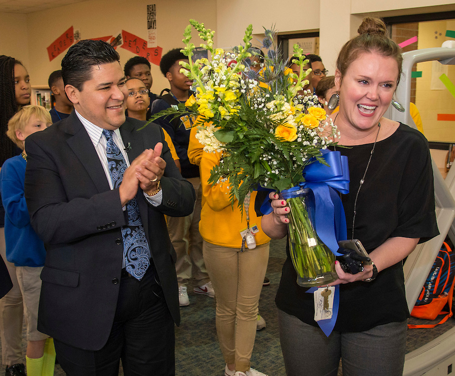 Houston ISD Superintendent Richard Carranza recognizes Keeley Simpson as Secondary Principal of the Year at West Briar Middle School, February 9, 2017.