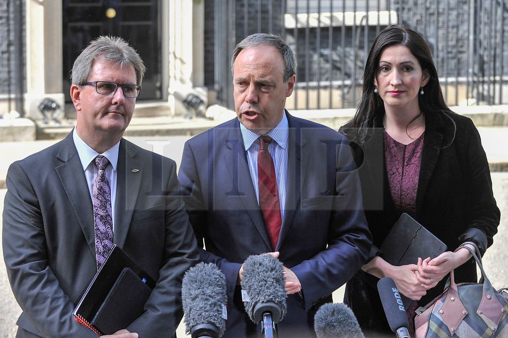 © Licensed to London News Pictures. 15/06/2017. London, UK. (L to R)  Sir Jeffrey Donaldson, Nigel Dodds, Deputy Leader Democratic Unionist Party, and Emma Little Pengelly ouyside Number 10 in a press conference.  Members of the Northern Ireland Assembly visit Downing Street for talks with Prime Minister Theresa May following the results of the General Election.  The Conservatives are seeking to work with the Democratic Unionist Party in order to form a minority government. Photo credit : Stephen Chung/LNP