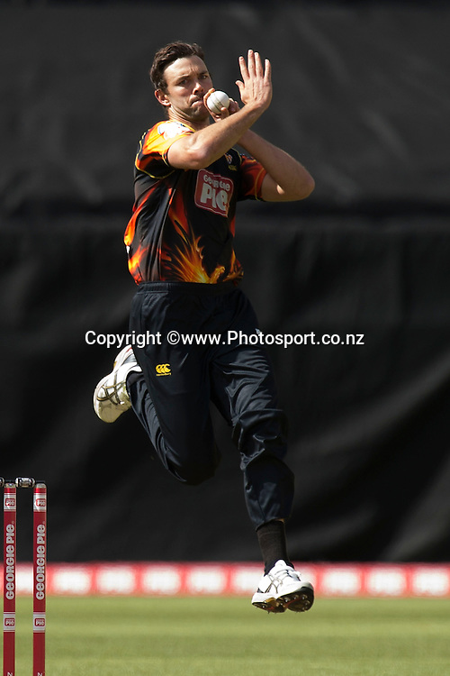 Grant Elliot of the Firebirds bowls during the Georgie Pie Super Smash Firebirds v Stags cricket match at the Westpac Stadium in Wellington on Sunday the 23rd of November 2014. Photo by Marty Melville/www.Photosport.co.nz