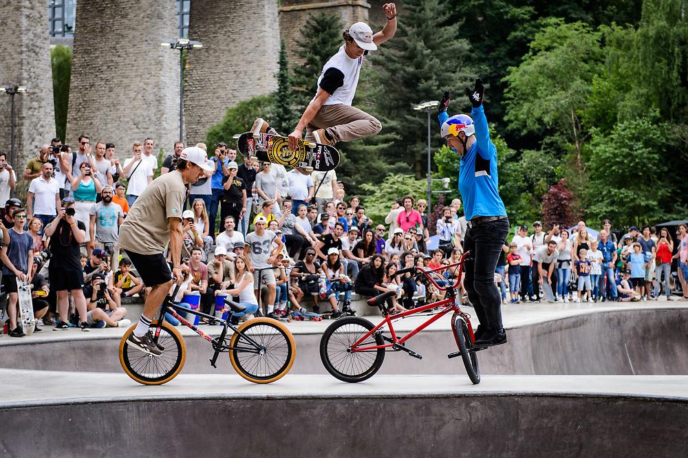 Viki Gomez, Danny Leon and Senad Grosic perform during Red Bull 3en1 at Skatepark Péitruss, Luxembourg, Luxembourg, June 3, 2017.