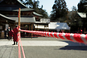 preparations for a ceremony at the Tsurugaoka Hachimangu shinto shrine in Kamakura Japan