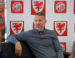 BRIDGEND, WALES - Tuesday, November 5, 2019: Wales manager Ryan Giggs speaks to the media after a press conference at Nathaniel Cars in Bridgend to announce his squad for the final UEFA Euro 2020 Qualifying Group E qualifying matches against Azerbaijan and Hungary. (Pic by David Rawcliffe/Propaganda)