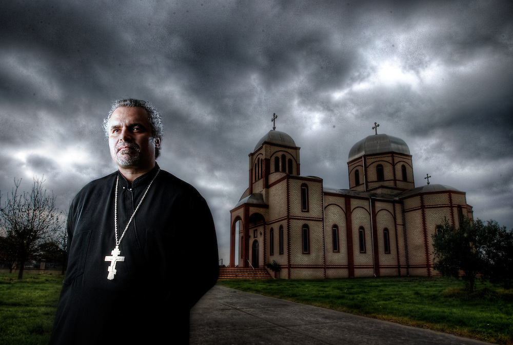 BEST VERSION: Father Milan Milutinovic, Serbian orthodox Church that had a molotov cocktail thrown threw the winow in June this year. Pic By Craig Sillitoe CSZ/The Sunday Age.19/8/2011 melbourne photographers, commercial photographers, industrial photographers, corporate photographer, architectural photographers, This photograph can be used for non commercial uses with attribution. Credit: Craig Sillitoe Photography / http://www.csillitoe.com<br />