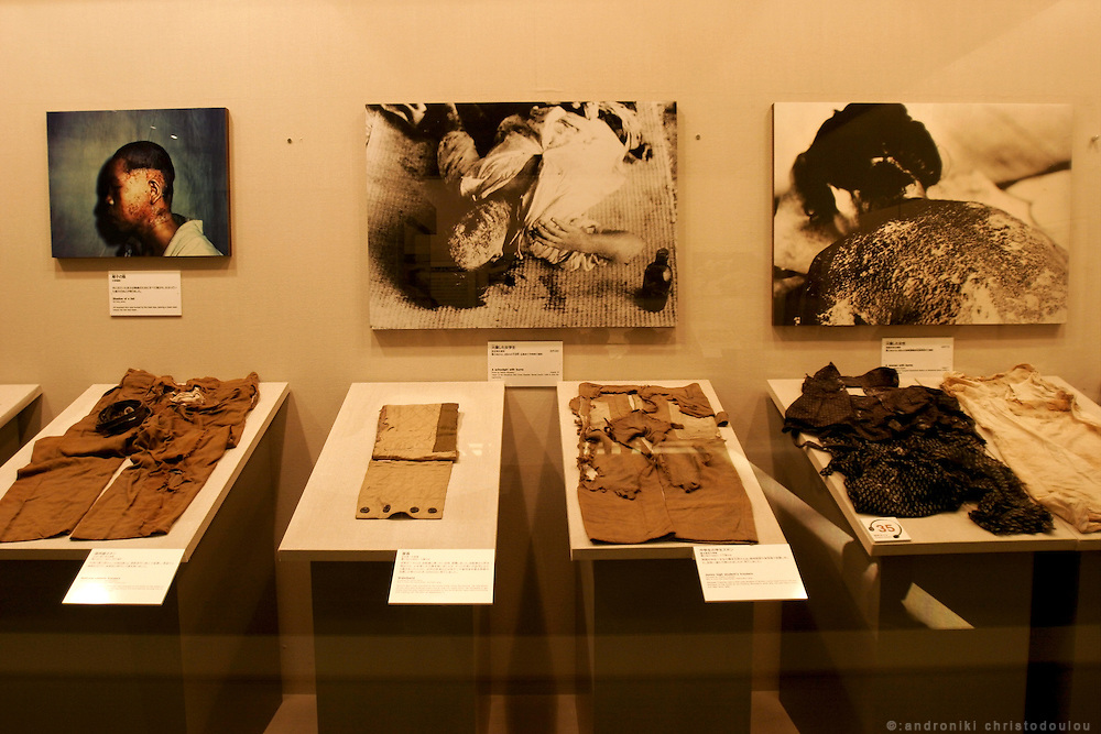 Hiroshima Peace Memorial Museum. Clothes and pictures of people burned by the A-bomb in Hiroshima.