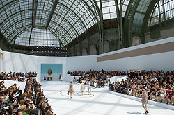 A model walks the runway for the Chanel collection presentation as part of the Haute-Couture Fall-Winter 2014-2015 fashion week, at the Grand Palais in Paris, France, on July 8, 2014. Photo by Christophe Guibbaud/ABACAPRESS.COM