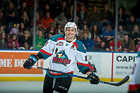 KELOWNA, CANADA - JANUARY 3: Carsen Twarynski #18 of the Kelowna Rockets smiles for the camera after scoring his second goal of the first period against the Tri-City Americans on January 3, 2017 at Prospera Place in Kelowna, British Columbia, Canada.  (Photo by Marissa Baecker/Shoot the Breeze)  *** Local Caption ***