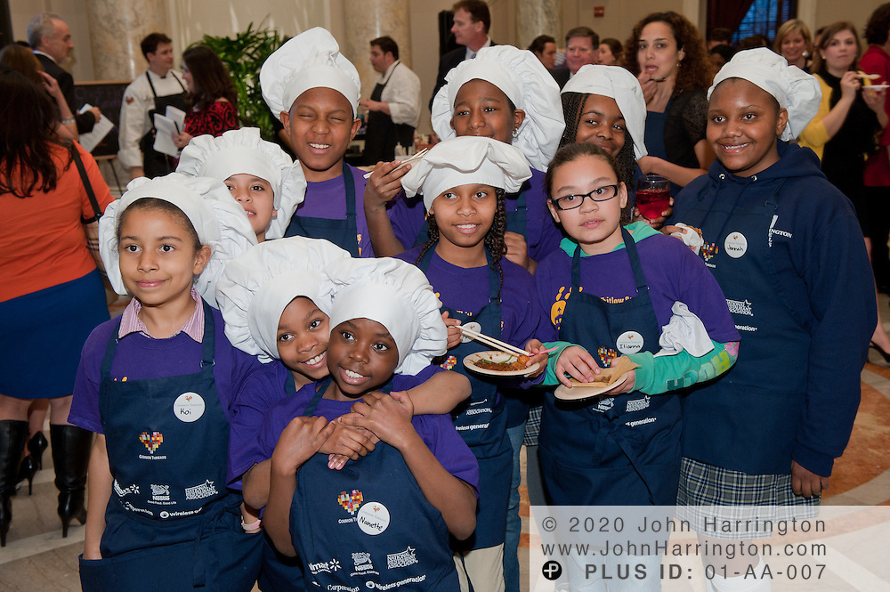 DC schoolchildren that participated in the Common Threads World Festival at the Carnegie Institution in Washington, DC on April 6th, 2011, brought together influential area chefs, politicians, and food enthusiasts for a fundraiser for after-school programs in Washington.