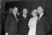 22/05/1963<br /> 05/22/1963<br /> 22 May 1963<br /> Opening of the Intercontinental Hotel, Pembroke Road, Ballsbridge, Dublin. The hotel was officially opened by An Taoiseach Mr. Sean Lemass. <br /> Image shows Taoiseach Sean Lemass chatting to Mr. Matthew McCluskey, US Ambassador to Ireland, and Mr and Mrs T. (Toddie) O'Sullivan of the Gresham Hotel, Dublin.