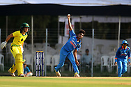 Pooja Vastrakar of India bowls during the second women's one day International ( ODI ) match between India and Australia held at the Reliance Cricket Stadium in Vadodara, India on the 15th March 2018<br /> <br /> Photo by Vipin Pawar / BCCI / SPORTZPICS