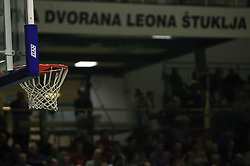 The basket at UPC basketball league match between KK Krka and KK Helios Domzale, on April 4, 2009, in Hall Leon Stukelj, Novo mesto, Slovenia. (Photo by Vid Ponikvar / Sportida)