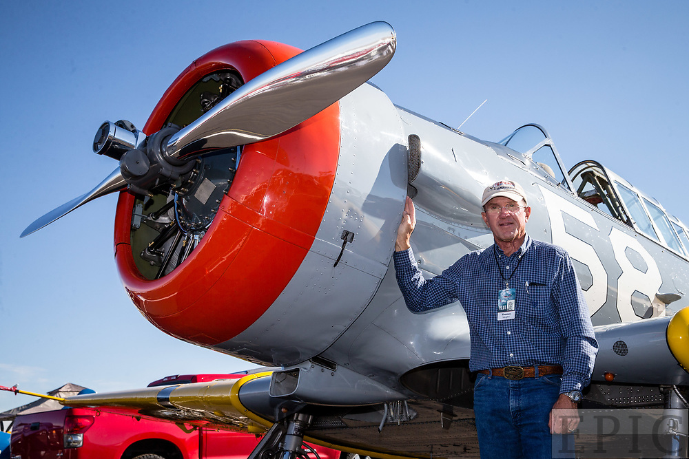 RENO, NV - SEPTEMBER 13: Thomas Vaughn stands next to his SNJ-4 airplane before todays heats at the Reno Championship Air Races on September 13, 2017 in Reno, Nevada. (Photo by Jonathan Devich/Getty Images) *** Local Caption *** Thomas Vaughn