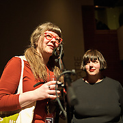 ARLINGTON, VA - April 7th, 2012 -  Chickfactor Magazine co-founders Gail O'Hara and Pam Berry address the crowd at the magazine's 20th anniversary weekend at Artisphere in Arlington, VA. (Photo by Kyle Gustafson)