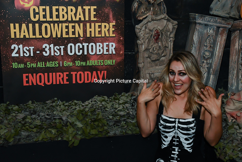 Larissa Eddie BBC Tv judge scares as a sexy skeleton at The London Bridge Experience & London Tombs on 28 October 2018, London, UK.
