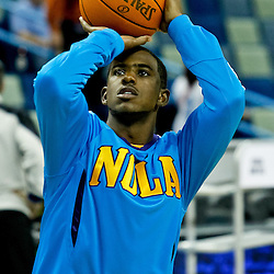 October 9, 2010; New Orleans, LA, USA; New Orleans Hornets point guard Chris Paul (3) shoots during warm ups prior to tipoff of a game against the Memphis Grizzlies at the New Orleans Arena. Mandatory Credit: Derick E. Hingle