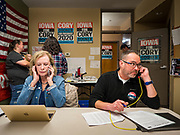 19 DECEMBER 2019 - URBANDALE, IOWA: Cory Booker campaign volunteers DAWN HALSTEAD, left, and JEREMY JONES make campaign calls during a phone bank at Sen. Cory Booker's campaign headquarters in Urbandale, a suburb of Des Moines. Sen. Booker, who did not qualify for the December 19 debate in Los Angeles, campaigned in the Des Moines area Thursday and visited the phone bank at his Iowa campaign headquarters. Iowa traditionally holds the first event of the presidential election cycle. The Iowa caucuses at Feb. 3, 2020.              PHOTO BY JACK KURTZ