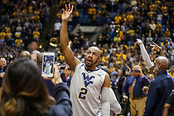 Feb 26, 2018; Morgantown, WV, USA; West Virginia Mountaineers guard Jevon Carter (2) waves to the crowd during senior night ceremonies before their game against the Texas Tech Red Raiders at WVU Coliseum. Mandatory Credit: Ben Queen-USA TODAY Sports