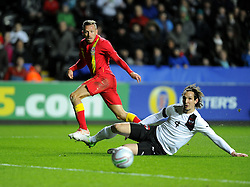 Craig Bellamy (Cardiff City) of Wales fires narrowly wide of the goal - Photo mandatory by-line: Joe Meredith/JMP - Tel: Mobile: 07966 386802 06/02/2013 - SPORT - FOOTBALL - Liberty Stadium - Swansea  -  Wales V Austria - International Friendly