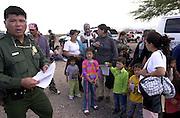 Undocumented migrants are processed in Sells, Arizona, on the Tohono O'odham Nation, Sonoran Desert, USA.