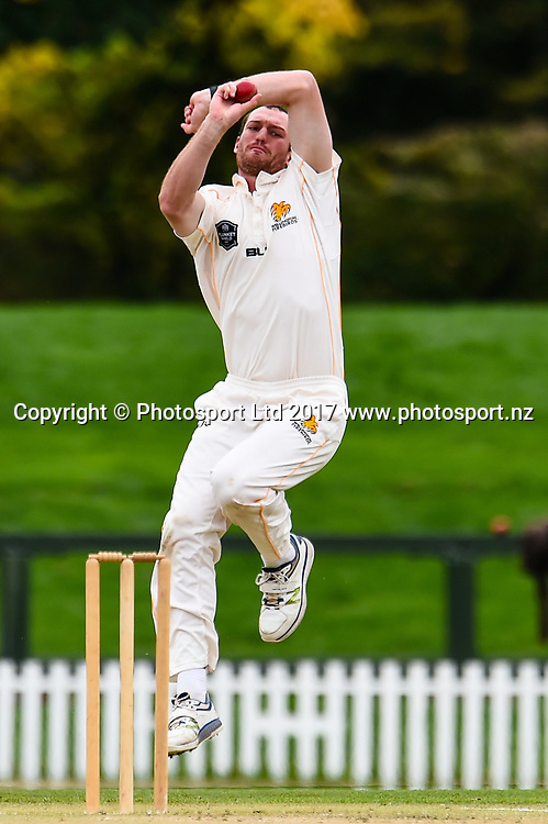 Iain McPeake of the Wellington Firebirds during Day4 of the Plunket Shield cricket game, Canterbury V Wellington, Hagley Oval, Christchurch, New Zealand, 1st April 2017.Copyright photo: John Davidson / www.photosport.nz