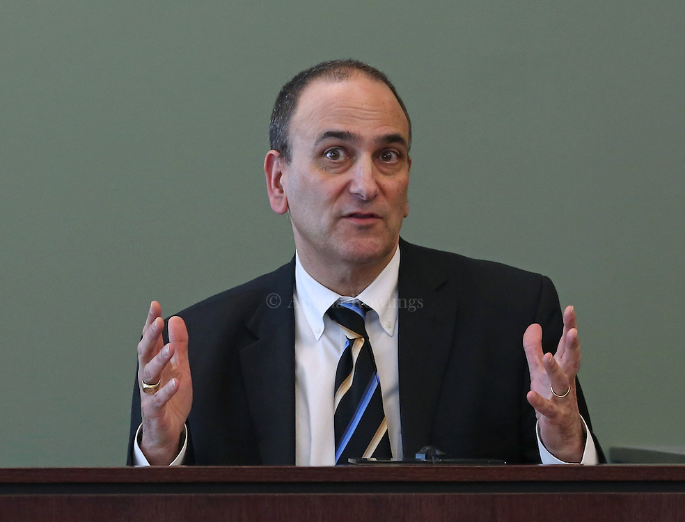(Woburn, MA - 3/18/15) Dr. Alex Levin answers questions on the stand  during a pretrial hearing for Aisling Brady McCarthy at Middlesex Superior Court, Wednesday, March 18, 2015. Staff photo by Angela Rowlings.