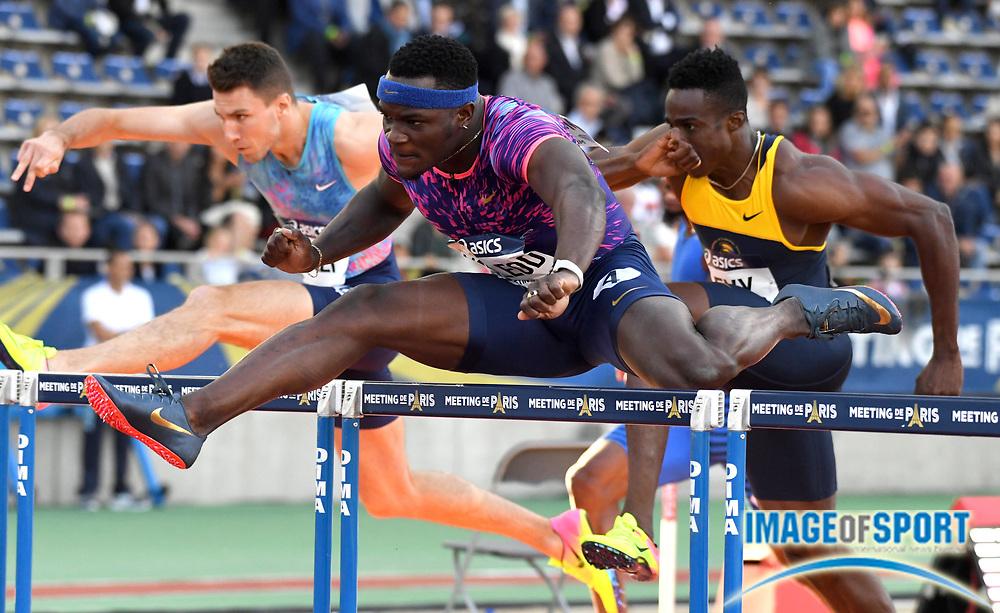Jul 1, 2017; Paris, France; Omar McLeod (JAM) wins 110m hurdles heat in 13.13 during the Meeting de Paris in an IAAF Diamond League meet at Stade Charlety.