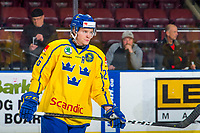 KELOWNA, BC - DECEMBER 18: Rickard Hugg #26 of Team Sweden warms up against the Team Russia  at Prospera Place on December 18, 2018 in Kelowna, Canada. (Photo by Marissa Baecker/Getty Images)***Local Caption***