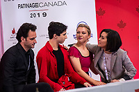 KELOWNA, BC - OCTOBER 25:  Canadian ice dancers Marjorie Lajoie and Zachary Lagha await their score for rhythm dance of Skate Canada International held at Prospera Place on October 25, 2019 in Kelowna, Canada. (Photo by Marissa Baecker/Shoot the Breeze)