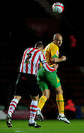 Southampton - Tuesday, September 30th, 2008: Chris Perry  of Southampton and Antoine Sibierski  of Norwich City during the Coca Cola Championship match at Southampton. (Pic by Daniel Hambury/Focus Images)