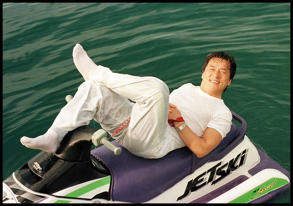 "HONG KONG:  Hong Kong actor Jackie Chan is seen on the movie set ""Dangerous"" in Hong Kong.  (Photo by David Paul Morris)"