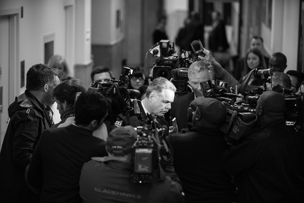 Superintendent of Police, Garry McCarthy, is questioned by reporters before attending the Chicago Police Department budget meeting at City Hall on October 6, 2015. (Photo by Max Herman)