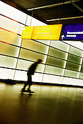 Skate boarding in the Postdammer Platz U-Bahn station.
