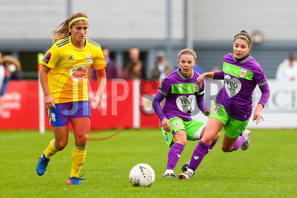 Carla Humphrey of Bristol City marks Paige Williams of Birmingham City Women - Mandatory by-line: Ryan Hiscott/JMP - 14/10/2018 - FOOTBALL - Stoke Gifford Stadium - Bristol, England - Bristol City Women v Birmingham City Women - FA Women's Super League 1