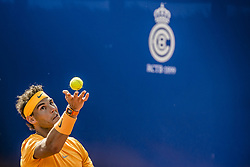 April 25, 2018 - Barcelona, Catalonia, Spain - RAFAEL NADAL (ESP) serves against Roberto Carballes Baena (ESP) during Day 3 of the 'Barcelona Open Banc Sabadell' 2018. Nadal won 6-4,6-4 (Credit Image: © Matthias Oesterle via ZUMA Wire)