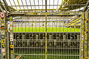 Gates stopping fans from entering the pitch adorned in stickers inside the Signal Iduna Stadium ahead of the Champions League round of 16, leg 2 of 2 match between Borussia Dortmund and Tottenham Hotspur at Signal Iduna Park, Dortmund, Germany on 5 March 2019.