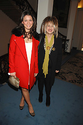 Left to right, LAURA RICHENBERG and designer ELIZABETH EMANUEL at a party to celebrate the publication of Dell'Olio's book 'My Beautiful Game' held at the Italian Embassy, Grosvenor Square, London on 17th April 2008.<br />