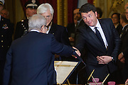 Rome dec 21th 2015, swearing-in ceremony of  new Constitutional Court members. In the picture Augusto Barbera, Matteo Renzi