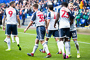 Bolton Wanderers midfielder Ali Crawford celebrates his goal with team-mates during the EFL Sky Bet League 1 match between Bolton Wanderers and Rochdale at the University of  Bolton Stadium, Bolton, England on 19 October 2019.