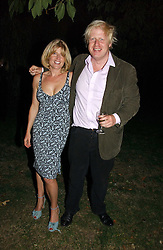 RACHEL JOHNSON and her brother BORIS JOHNSON MP  at a party to celebrate the publication of Notting Hell by Rachel Johnson held in the gardens of 1 Rosmead Road, London W11 on 4th September 2006.<br />