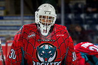 KELOWNA, CANADA - MARCH 16:  Roman Basran #30 of the Kelowna Rockets warms up against the Vancouver Giants on March 16, 2019 at Prospera Place in Kelowna, British Columbia, Canada.  (Photo by Marissa Baecker/Shoot the Breeze)