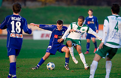 Leon Kukec of Drava vs Joao Gabrijel Da Silva of Olimpija at 18th Round of PrvaLiga football match between NK Olimpija and NK Labod Drava, on November 21, 2009, in ZAK, Ljubljana, Slovenia. Olimpija defeated Drava 3:0. (Photo by Vid Ponikvar / Sportida)