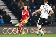 Bristol City midfielder, on loan from Birmingham City, David Cotterill (32) looks to cross the ball during the EFL Sky Bet Championship match between Derby County and Bristol City at the Pride Park, Derby, England on 11 February 2017. Photo by Jon Hobley.